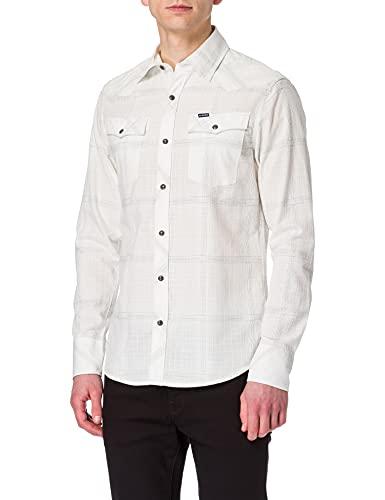 G-STAR RAW 3301 Slim Camisa, Milk Ethan Check C649-c315-Reloj de Pulsera, XXL para Hombre