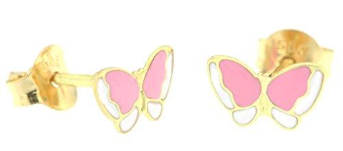 ERC mariposa pendientes de niña con esmalte, oro amarillo 14k (585/1000)