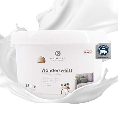 Wanders24® Wandersweiss (2,5 Liter, Weiß) Wandfarbe weiß hohe Deckkraft - Wandfarbe weiss - DIN13300 - Deckv. 1 - Nassab. 1 - Made in Germany