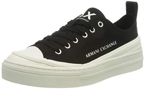 Armani Exchange Damen Sneaker, Schwarz (Black+White A120), 35 EU