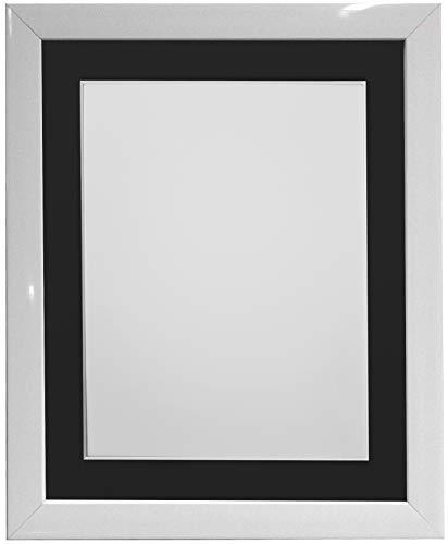 FRAMES BY POST - Cornice portafoto Bianca con passepartout Nero, 35 x 28 cm, Formato A4, in Vetro plastificato