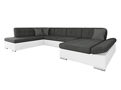 Mirjan24 Ecksofa Bergen Design Eckcouch mit Schlaffunktion und Bettkasten, Regulierbare Armlehnen, U-Form Sofa vom Hersteller, Wohnlandschaft (Soft 017 + Lux 06 + Lux 05, Ecksofa: Rechts)