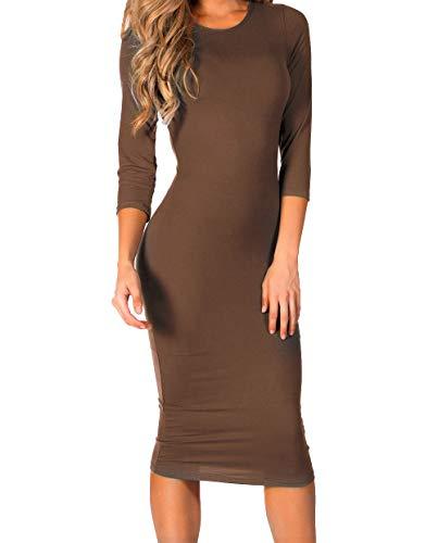 ICONOFLASH Women's Plus Size Mocha 3/4 Sleeve Bodycon Midi Dress - Crew Neck Fitted Dress 2X-Large