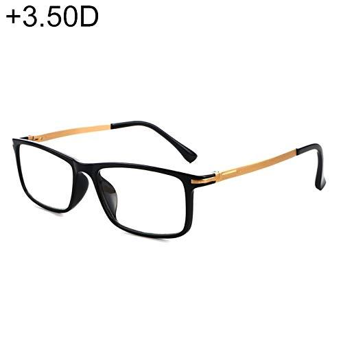 JSANSUI Goedkope leesbril zwart montuur ontspiegeld scharnier Anti Fatigue & Blue-ray Presbyopie bril, (+ 3,50 D)