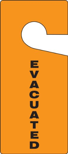 """Accuform TAD838 Standard Door Knob Hanger Tag, Legend""""EVACUATED"""", 9"""" Length x 4"""" Width x 0.015"""" Thickness, RP-Plastic, Black on Orange (Pack of 10)"""