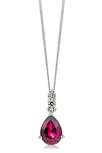 Miore Kette Damen 0.06 Ct Diamant Halskette mit tropfen Anhänger Edelstein/Geburtsstein Rubin in rot und Diamanten Brillanten Kette aus Weißgold 9 Karat / 375 Gold, Halsschmuck 45 cm lang