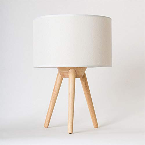 H.ZHOU Lámpara de Mesa de Mesilla, Lámpara de mesa Lámpara de mesa de noche Nordic Simple Lámpara de mesa moderna Dormitorio Pastoral IKEA Lámpara de sala de estudio de madera maciza Sala de estar Lám