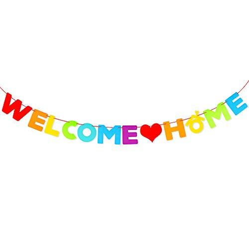 VINFUTUR Welcome Home Girlande Filz Bunt Willkommen Zuhause Banner Hängende Deko für Familienfeiern Familie Party