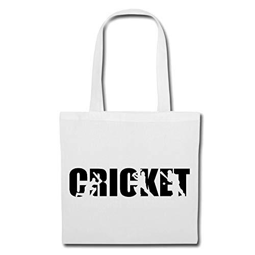 Tasche Umhängetasche CRICKET - BRETTSPIEL - EIS SPORT - CRICKET SPIELER - CRICKET SPIELERIN Einkaufstasche Schulbeutel Turnbeutel in Weiß