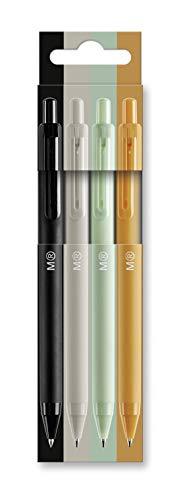 MIQUELRIUS - Pack 4 Bolígrafos de Clic - Tinta Semi Gel, Colores Negro, Gris, Mint, Mostaza