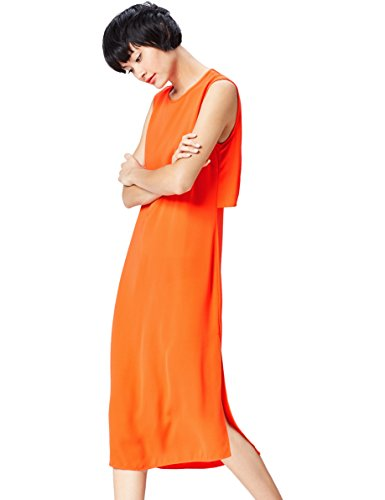 Marca Amazon - find. Vestido Elegante Sin Mangas Largo por la Rodilla para Mujer, Naranja (Blood Orange), 38, Label: S