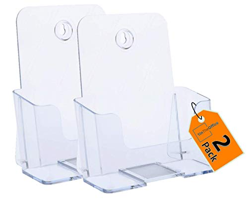 """1InTheOffice Brochure Holder 6x9, Wall Mount Or free-standing, Acrylic Literature Holder ,6 Inch Wide """"2 Pack"""""""