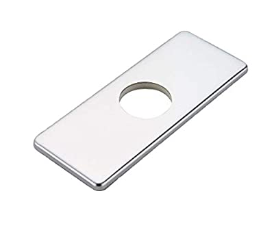 """Homevacious 6 inch Bathroom Vessel Vanity Sink Faucet 4"""" Hole Cover Deck Plate Escutcheon Polished Chrome Square Stainless Steel"""
