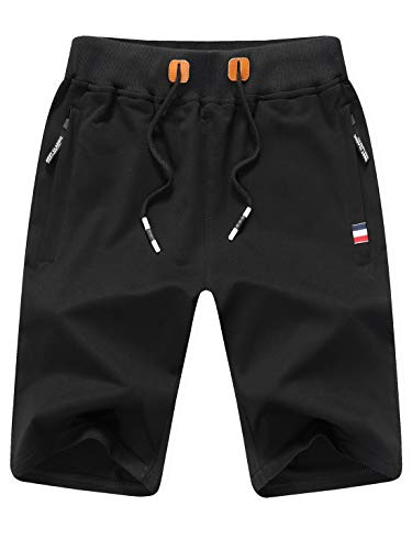 Tansozer Kurze Hose Herren Shorts Sommer Jogginghose Kurz Baumwolle Gym Sweat Shorts Herren Sport (Schwarz,S)