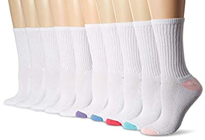 Amazon Essentials Women's 10-Pack Cotton Lightly Cushioned Crew Socks, White, Shoe Size: 6-9