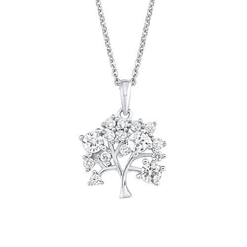 Amor Kette mit Anhänger für Damen, Sterling Silber 925, Zirkonia Lebensbaum