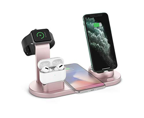 Wireless Charger Stand, 4 in 1 Multi-Function Wireless Charging Station Dock for Apple Watch Airpods, Qi Fast Wireless Charger Holder Pad for iPhone 11 Pro Max XS XR and Smartphone (Rose Gold)