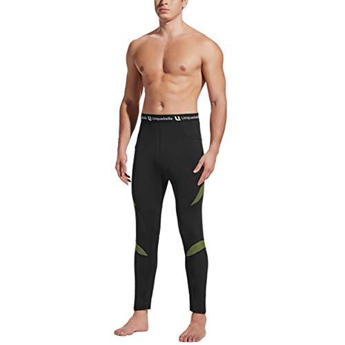 UNIQUEBELLA Thermounterwäsche Unterhose, Funktions Herren Funktionswäsche Skiunterwäsche Winter Suit Ski Thermo-Unterwäsche Thermowäsche Leggings (Schwarz, L)