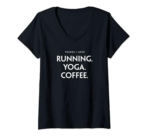 Mujer Things I Love Running. Yoga. Sporty Jogging Fun. Camiseta Cuello V