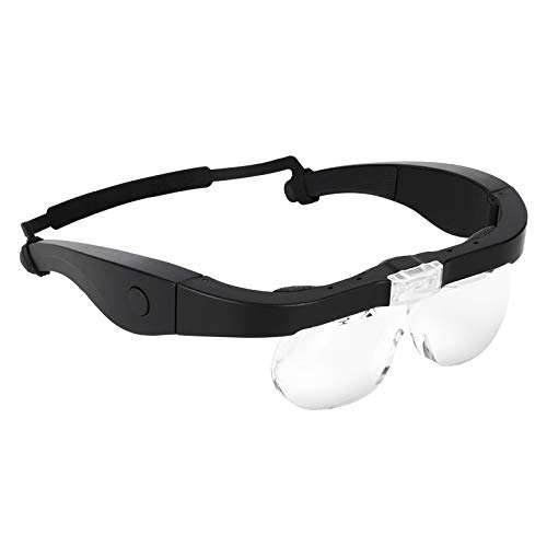 MORDUEDDE Lighted Head Magnifier Magnifying Glasses with Led Light Hands-Free : Headband Loupe Visor for Close Work Reading Eyelash Hobby Crafts Sewing (1.5X, 2.5X, 3.5X, 5X)