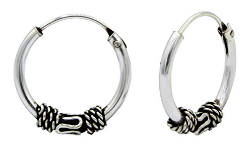 Pendientes de aro hipoalergénicos de plata de ley de 12 mm estilo Bali/estilo tribal' para cartílago, oreja, nariz y labios (014960)