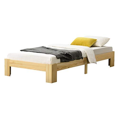 [en.casa] Holzbett Raisio 100x200 cm mit Lattenrost Bettgestell Bett Kiefernholz Massiv Einzelbett Jugendbett Gästebett Natur Holz