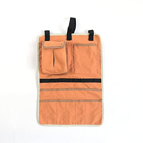 Esenlong Bolsa de camping, bolsa de almacenamiento colgante de lona, accesorios de camping para almacenar pañuelos cubiertos tienda de pañuelos, pinzas 34 cm x 48 cm