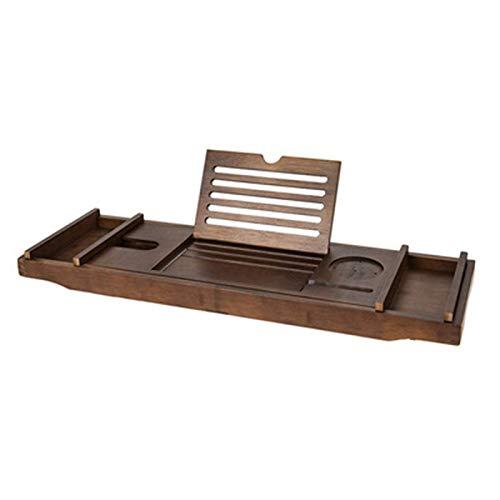 N\C Bambus-Badewannenschale, für die Wanne Seifenschalen im europäischen Stil Badewannenzubehör, ausziehbare Badewannenschalen mit Tablet-Telefonsteckplätzen