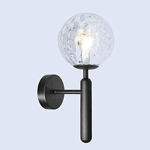 Artpad Led helder glazen bol licht zwart metalen badkamer licht met E14 LED lamp moderne Scandinavische geschilderde wandkandelaars voor nachtkastje woonkamer Restaurant verlichtingsarmatuur
