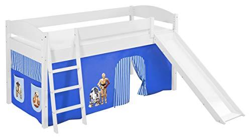 Lilokids Spielbett IDA 4105 Star Wars Blau - Teilbares Systemhochbett weiß - mit Rutsche und Vorhang