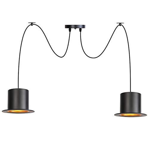 Luces colgantes, alambre ajustable sombreros de metal negro, lámpara de araña de techo para bricolaje, iluminación colgante de araña nórdica moderna para comedor,2 lights