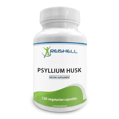 ReiShell Psyllium Husk Capsules 750 mg - High Potency Fiber Supplement - Good for Healthy Digestion, Constipation and Weight Loss - 120 Vegan Capsules