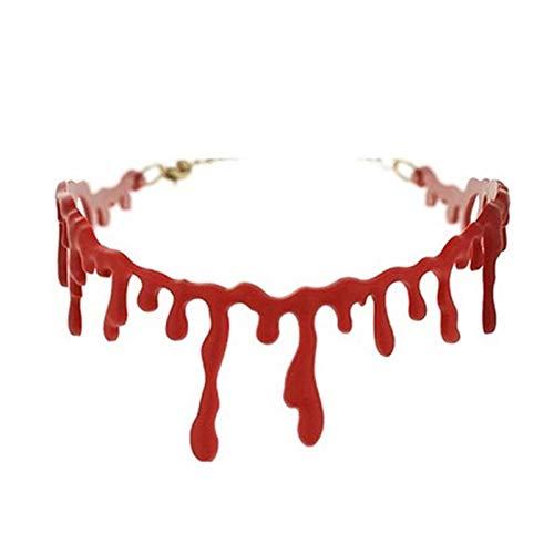 RQZQ Halloween Halloween Decoratie Horror Bloed Druppel Ketting Nep Bloed Vampier Fancy Joker Choker Kostuum Rode Kettingen
