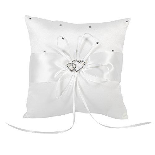 Raguso Cuscino portafedi con 4 FEDI Nuziali, con Fiocchi di Diamanti a Forma di Fiocco, Doppio Diamante(Bianca)