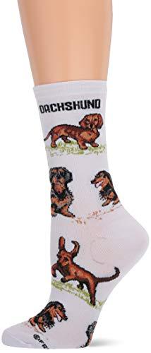 For Bare Feet Women's FBF Originals Novelty Dog Socks, Dachshund Poses, Medium