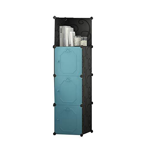LVZAIXI Enkelt med hörnskåp DYI manuell montering bokhylla lämplig för sovrum, arbetsrum-4 kub 3D dörrpanel (färg: B)