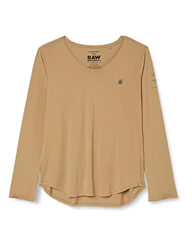 G-STAR RAW Damen Rolled Edge Slim Long Sleeve V-Neck T-Shirt, Safari C506-B444, XXL