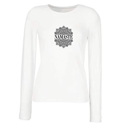 lepni.me Weibliche Langen Ärmeln T-Shirt Meditation Yoga Namaste Mandala Zen Geistiges Geschenk für Yogi (Small Weiß Mehrfarben)