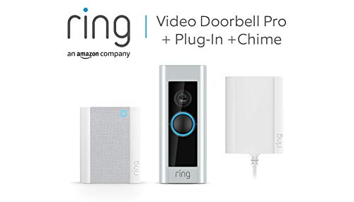 Ring Video Doorbell Pro with Plug-In Adapter and Ring Chime, 1080p HD,...