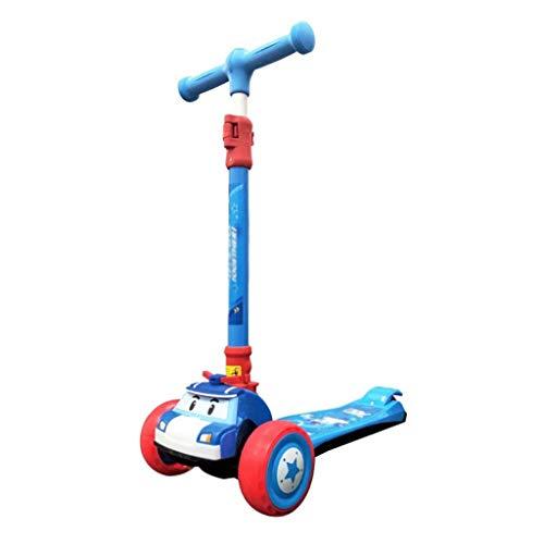YLJJ Patinete de 3 a 8 años para niños, Patinete de 3 Ruedas para niños pequeños, Gran Altura Ajustable, aprende a Conducir con Ruedas Intermitentes LED de PU Extra Anchas, Azul