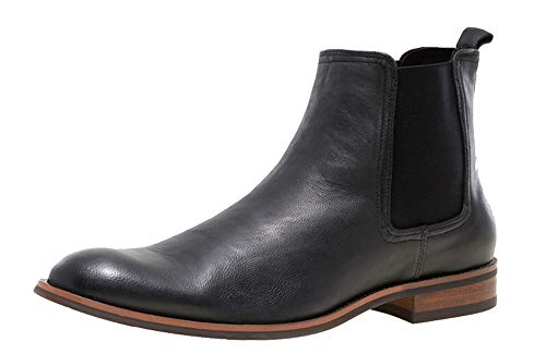 JUMP NEWYORK Men's Lawson Black Plain Toe Leather Chelsea Boot US Size 13