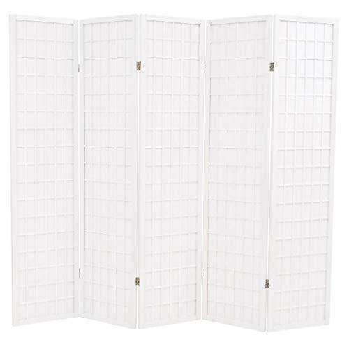 vidaXL Paravent 5-TLG. Japanischer Stil 200x170cm Weiß Raumteiler Trennwand