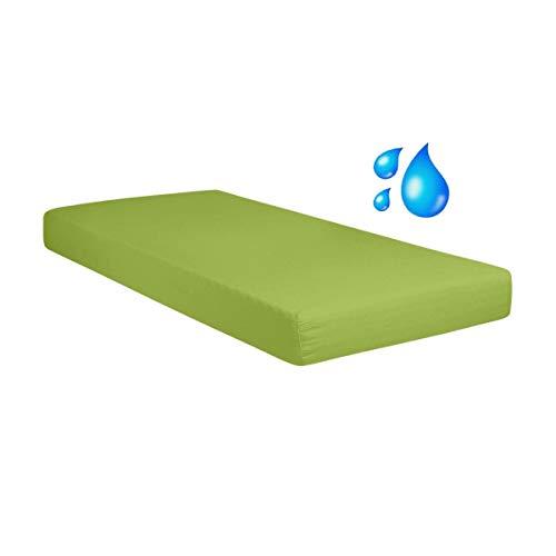 G Bettwarenshop Jersey Spannbetttuch Wasserdicht 2In1 • Bettlaken Und Matratzenschutz In Einem 90x190-100x200 cm Apfel