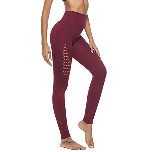Dames naadloze legging holle hoge taille heupen panty broek fitness legging yoga broek dames broek (XL rode wijn)