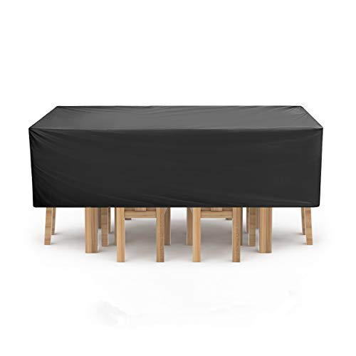 NASUM Garden Furniture Covers, Furniture Cover, Patio Furniture Covers Waterproof, Rectangular/Oval Cover, Windproof and Anti-UV, for Sofas and Chairs, PVC (315x160x74cm) - Black