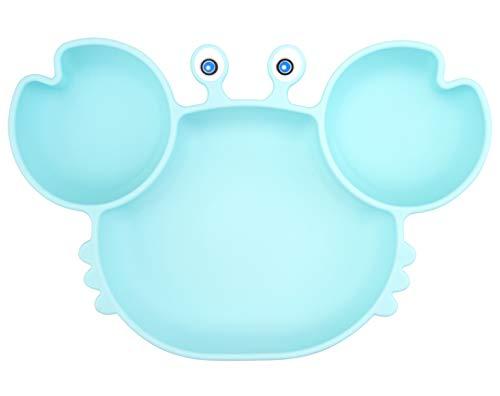 Baby Teller Schüssel Mini Silikon Platte für Baby Kleinkinder und Kinder Tragbar Teller Baby Rutschfest Babyteller Saugen Abwaschbar für Spülmaschine, Mikrowelle (Krabben-Himmelblau)