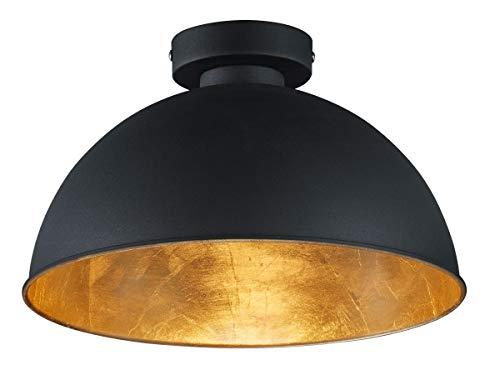 Reality Leuchten Deckenleuchte Jimmy, 1 x E27 ohne Leuchtmittel, Durchmesser 31 cm, Außen schwarz, Innen goldfarbig, R60121002