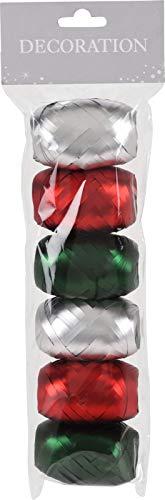 MIJOMA Set Ringelband Polyband Geschenk-Band zum Basteln und Verpacken - 10 m je Rolle glänzend & matt Sortiert (6-teilig, Silber - rot - grün)
