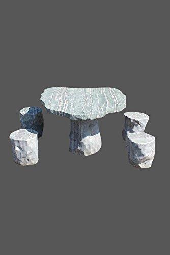 Tuinset van natuursteen (tafel + 4 krukken)