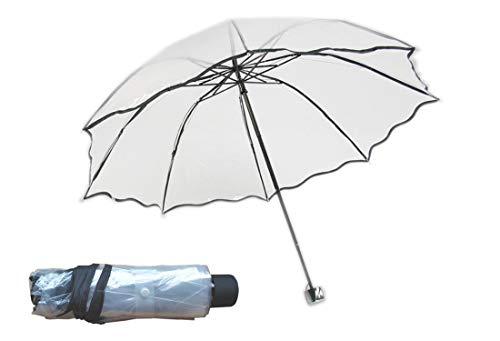 Transparent Regenschirm mit Hülle Groß Taschenschirm Schwarzer Rand Kreativer Reiseschirm für Auto Tragbarer Schirm für Kinder Damen Frauen Studenten Leicht Durchsichtig Windfest Durchmesser 96cm